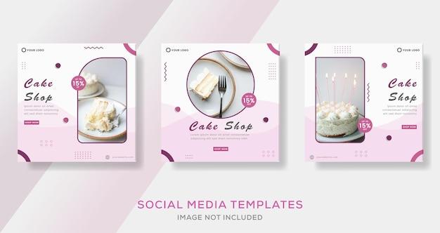 Eten culinaire banner voor cake winkel sjabloon post premium