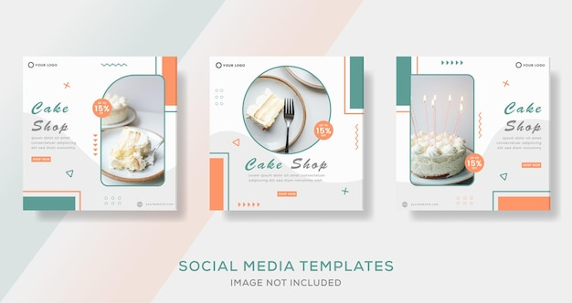 Eten culinaire cake menu banner voor social media template post premium