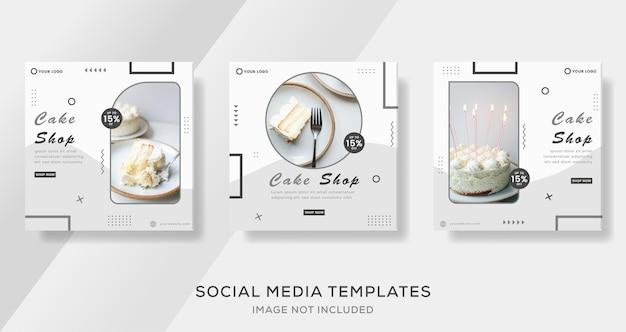 Eten culinaire taartwinkel banner sociale media premium vector