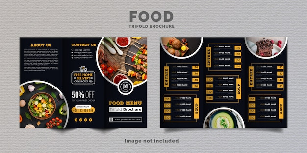 Eten driebladige brochure menusjabloon. fastfood menubrochure voor restaurant met gele en donkerblauwe kleur.