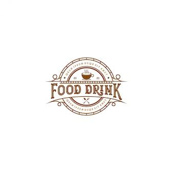 Eten drinken logo, vintage stijl restaurant en café-bar