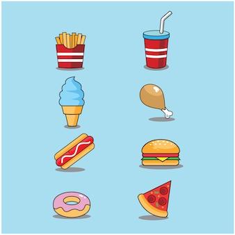 Eten en drinken cartoon doodle