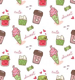 Eten en drinken kawaii patroon