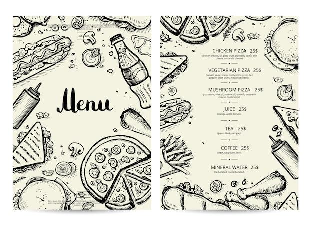 Eten en drinken menu met prijzen