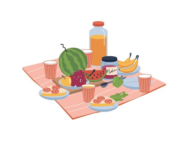 Eten en drinken op natuurbord met sandwiches bananen en druiven appel en sap in glazen snacks