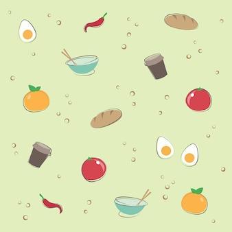 Eten en drinken patroon behang