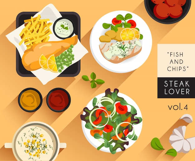 Eten illustratie: steak lover set