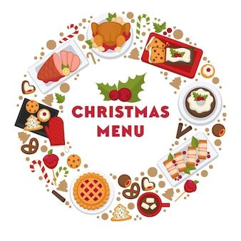 Eten in café of restaurant bereid voor kerstviering. gerechten gepresenteerd in cirkel
