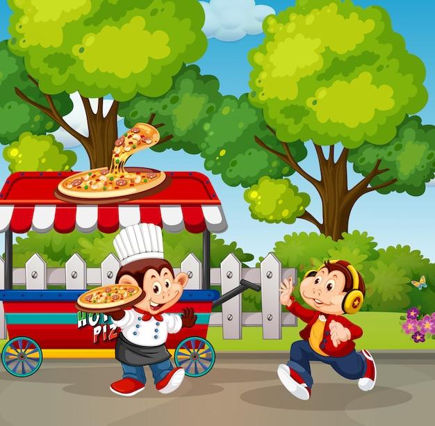 Eten kraam in het park