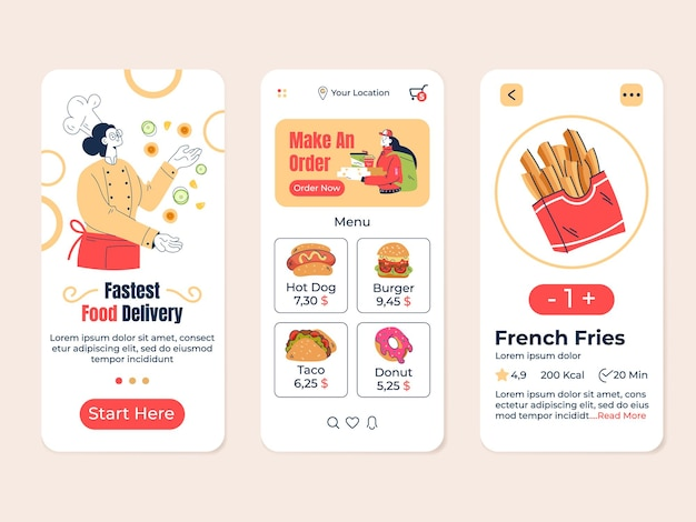 Eten kruidenier bezorgwinkel café zoeken mobiele app vector plat modern design