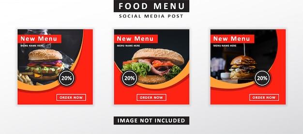 Eten menu banner sociale media plaatsen