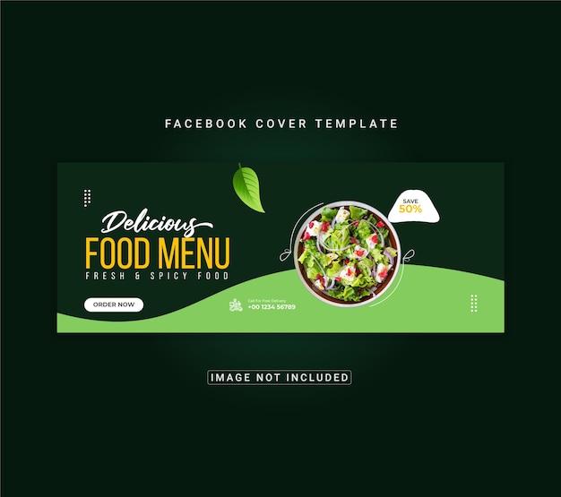 Eten menu en restaurant facebook omslagsjabloon voor spandoek