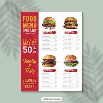 Eten menu flyer sjabloon ontwerp restaurant menu voedsel menu poster fastfood menu menu ontwerpsjabloon