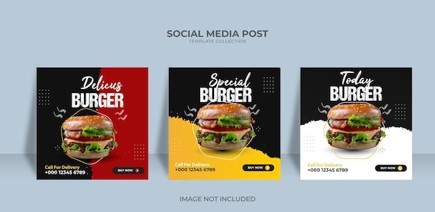 Eten menu restaurant hamburger social media postsjabloon premium vector