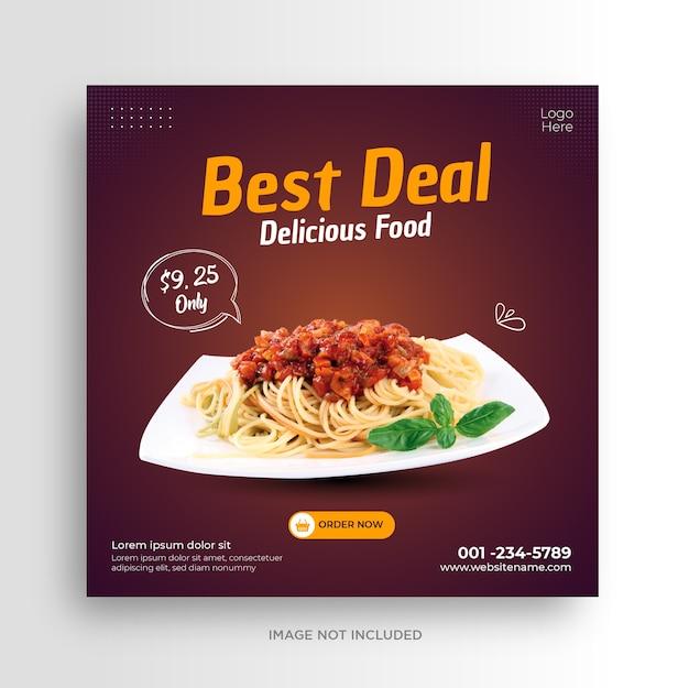 Eten menu restaurant sociale media sjabloon voor spandoek