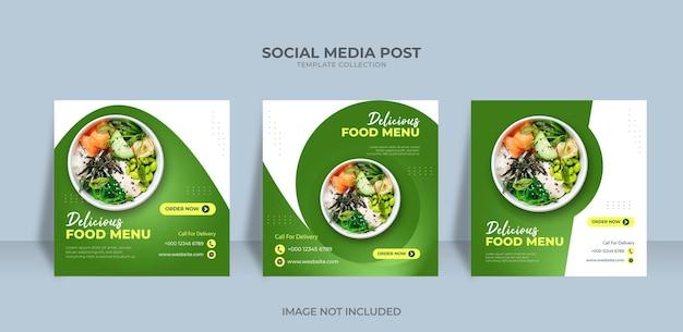 Eten menu social media promotie banner post ontwerpsjabloon