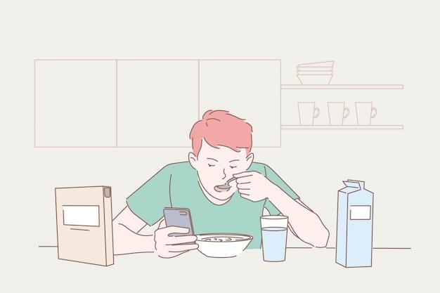 Eten, ontbijt, gadget, sociale media concept.