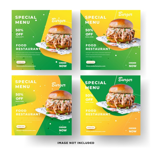 Eten restaurant social media banner vector sjabloon premium vector