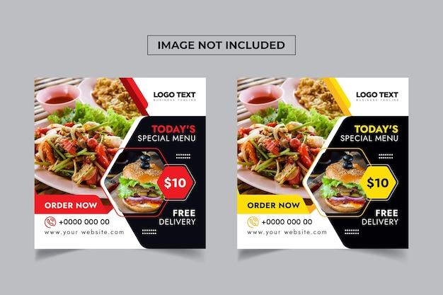 Eten restaurant social media banners sjabloon