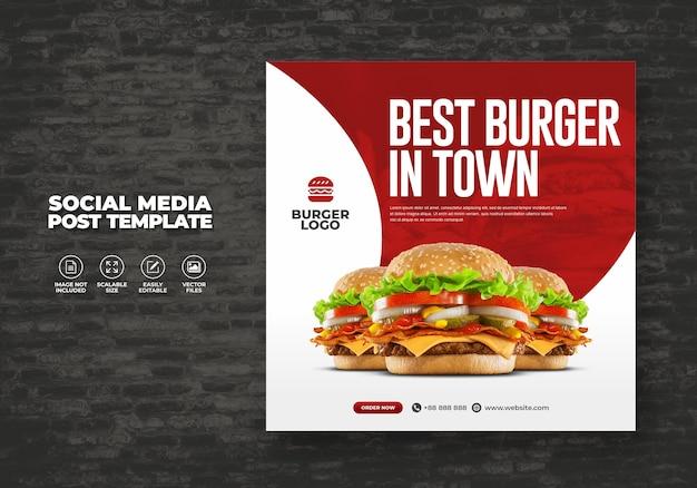 Eten restaurant voor social media sjabloon speciaal super heerlijk burger menu promo