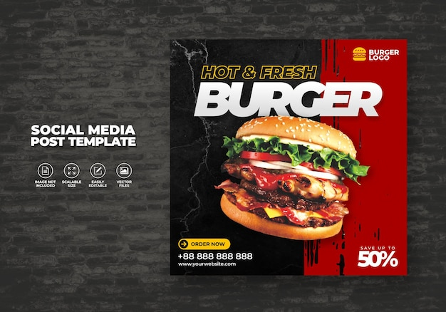 Eten restaurant voor sociale media burger menu promotiesjabloon speciaal gratis