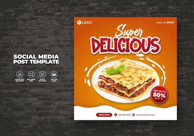 Eten restaurant voor sociale media menu promotiesjabloon speciaal gratis