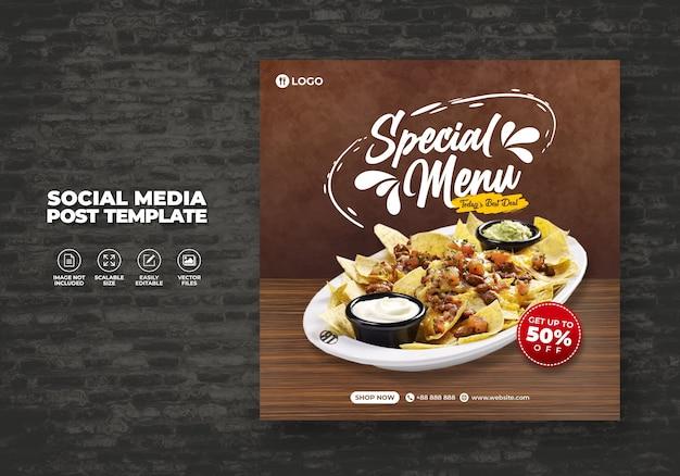 Eten restaurant voor sociale media sjabloon speciaal vers heerlijk menu promo