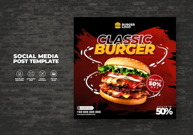 Eten restaurant voor sociale media sjabloon speciale burger menu promo