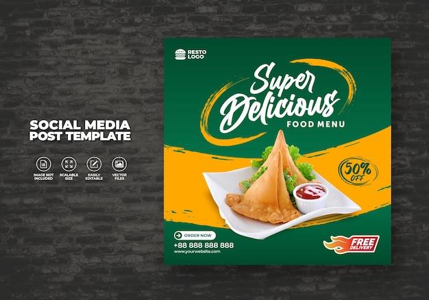 Eten restaurant voor sociale media sjabloon speciale gratis menu promo
