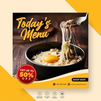 Eten restaurant voor sociale mediasjabloon speciale vandaagmenu promo