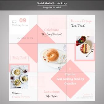 Eten social media puzzel verhaalsjabloon