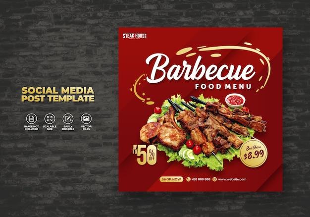 Eten sociale media promotie en restaurant menu banner post ontwerp sjabloon Premium Vector