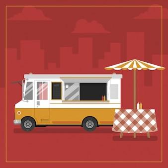 Eten truck achtergrond ontwerp