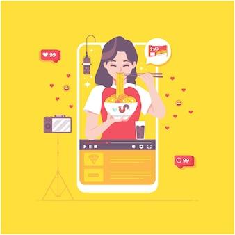 Eten uitzending video concept illustratie