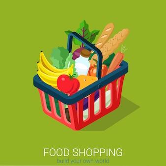 Eten winkelen concept. winkelwagen vol voedsel isometrisch.