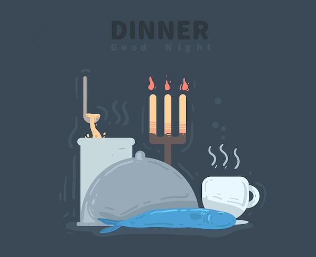 Etenstijd. goedenacht kaart. diner vectorillustratie
