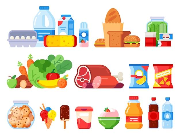 Etenswaren. verpakt kookproduct, supermarktartikelen en ingeblikt voedsel. koekjestrommel, slagroom en eieren pakken vlakke pictogrammen in