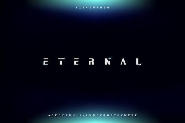Eternal, een abstract futuristisch alfabetlettertype met technologiethema. modern minimalistisch typografieontwerp