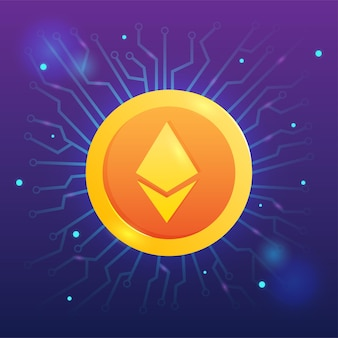 Eth ethereum cryptocurrency met netwerkvector op donkere achtergrond