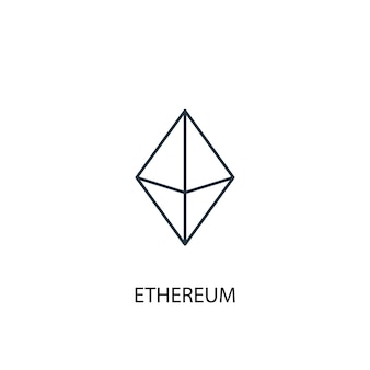 Ethereum concept lijn icoon. eenvoudige elementenillustratie. ethereum concept schets symbool ontwerp. kan worden gebruikt voor web- en mobiele ui/ux