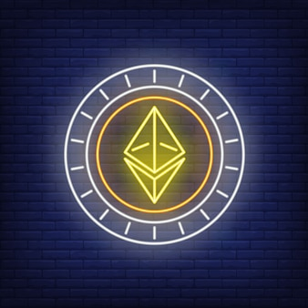 Ethereum cryptocurrency munt neon teken.