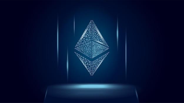 Ethereum eth cryptocurrency token symbool, munt pictogram op donkere veelhoekige draadframe achtergrond. digitaal goud voor website of banner. vectoreps10.
