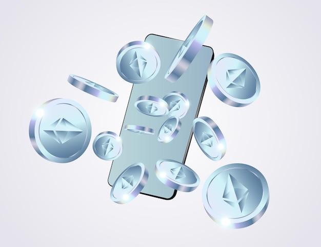Ethereum-munten vliegen van de telefoon op grijze achtergrond