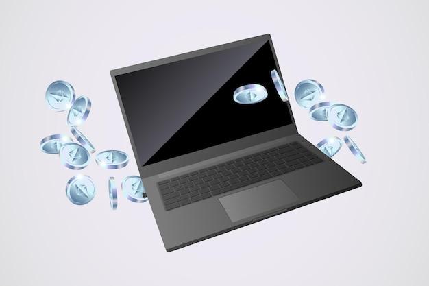 Ethereums-munten die naast laptop op grijze achtergrond vliegen