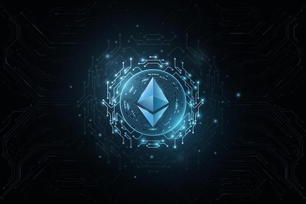 Etherische cryptovaluta. dekking voor internetzaken. digitale munt voor website vector blockchain