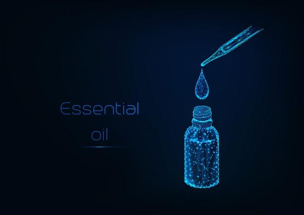 Etherische olie druppel valt uit een pipet