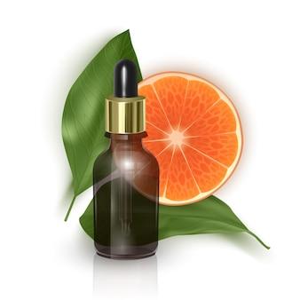 Etherische olie met sinaasappelschijfje, vitamine c, realistische 3d illustratie.