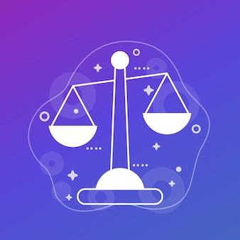 Ethiek, balans vectorillustratie met schalen