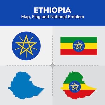 Ethiopië kaart, vlag en nationale embleem