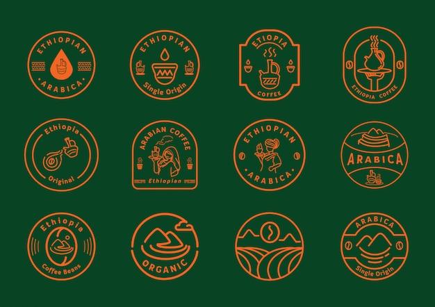 Ethiopië koffie lijn badge ontwerp